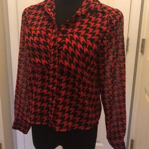 Truth NYC sheer red & black blouse